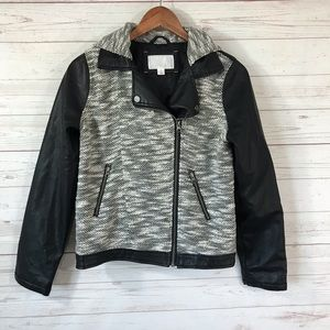 Xhilaration Faux Leather Hoodie Jacket Juniors Lg